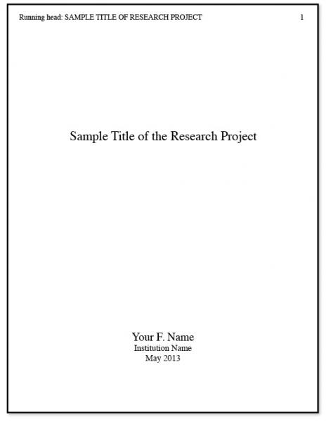 APA Title Page Writing a Research Paper – Cover Page for Research Paper
