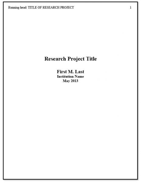 Format Of Research Paper Front Page